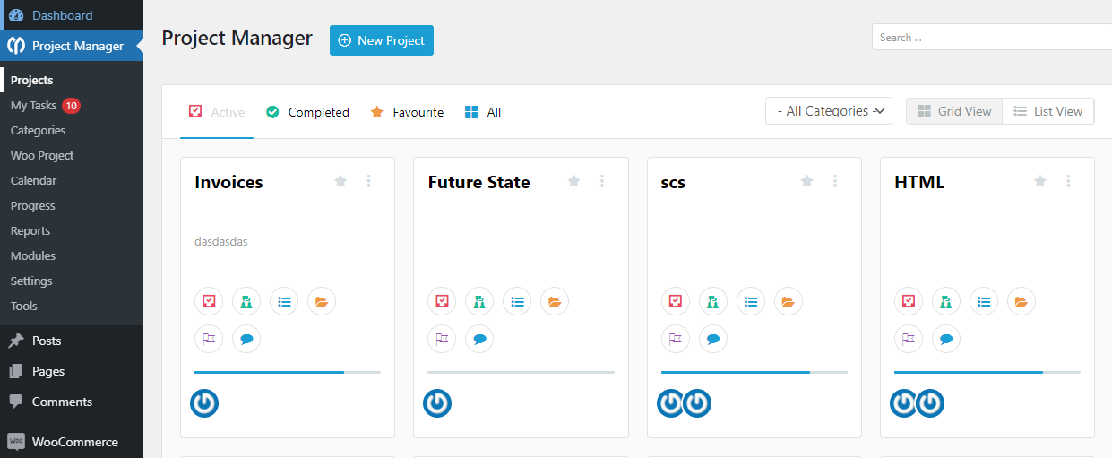 Adding new tasks to the project manager