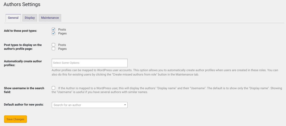 The PublishPress Authors plugin settings.