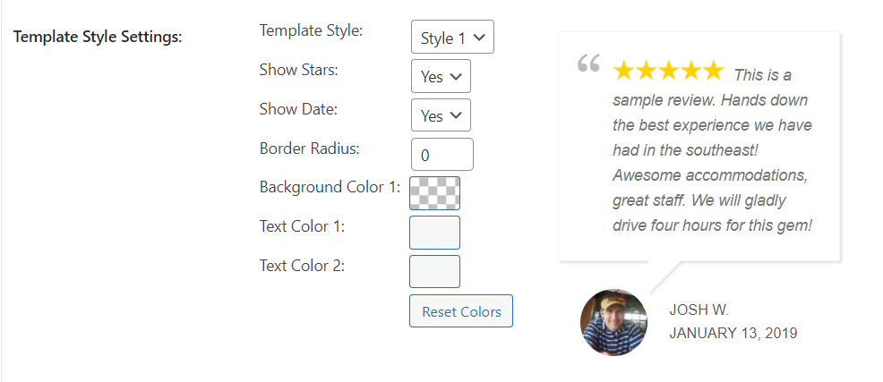 Customizing your review slider's template