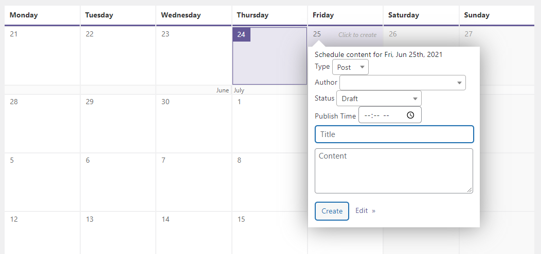 Using a content calendar to schedule a post