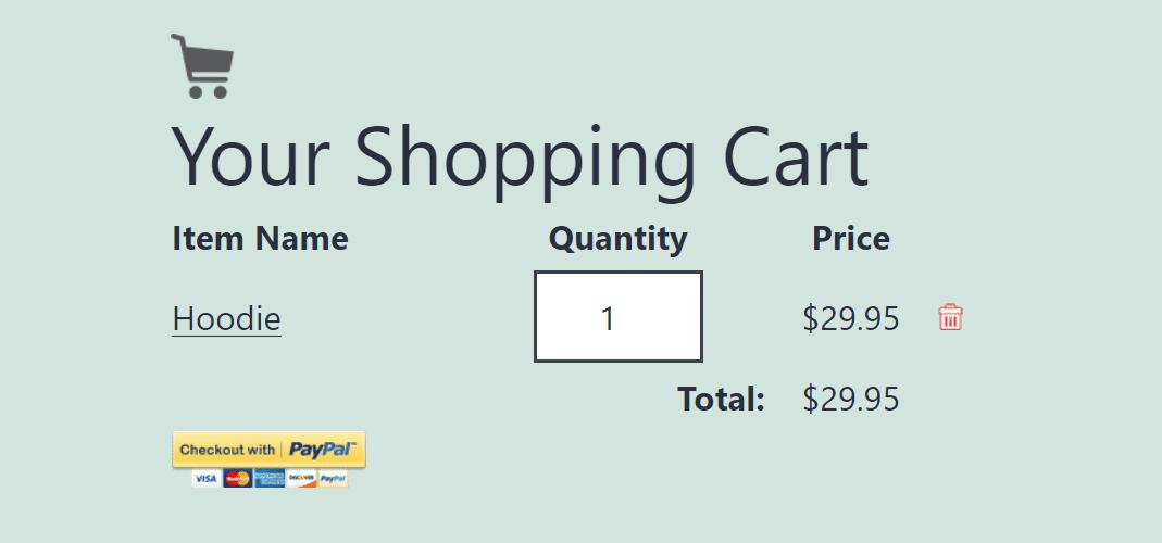 A PayPal shopping cart