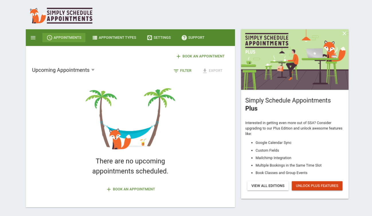 The interface of the Simply Schedule Appointments plugin.