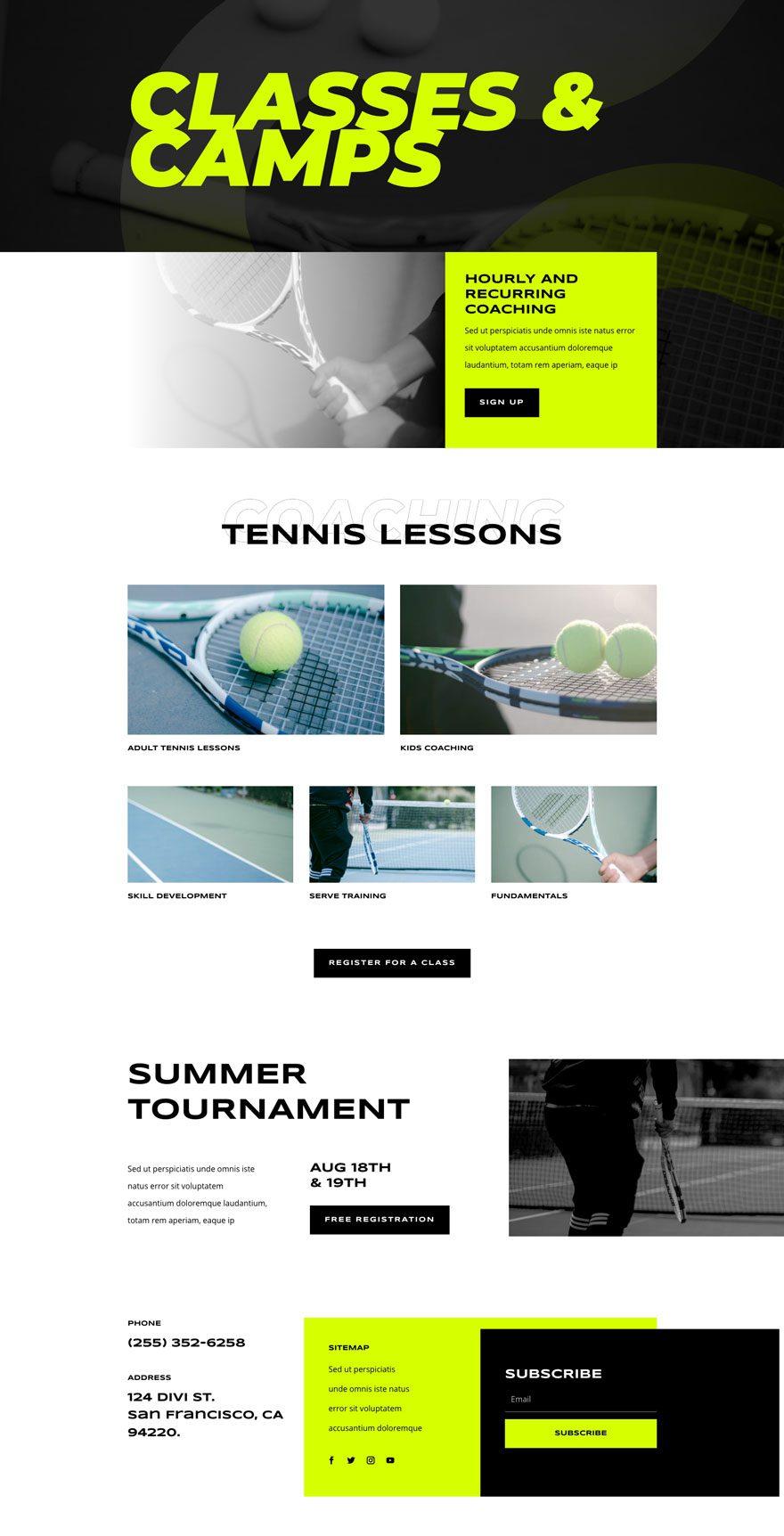 tennis club website