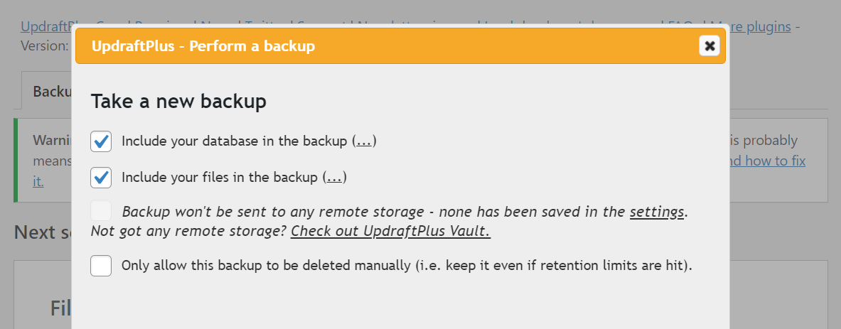 Creating a backup using UpdraftPlus