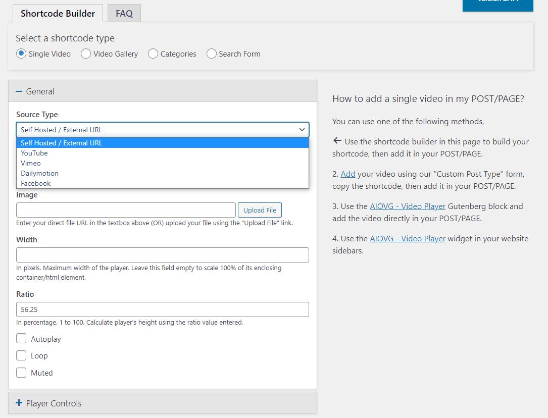 Using the custom video shortcode builder