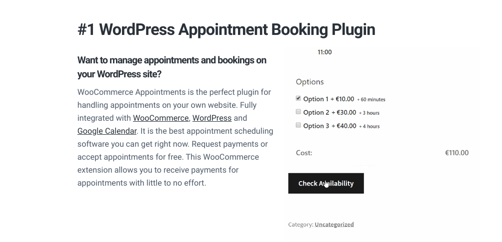 The WooCommerce Appointments plugin by BookingWP.