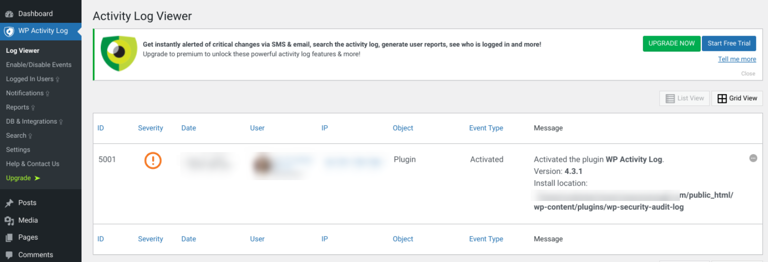 The log viewer screen of the WP Activity Log plugin.
