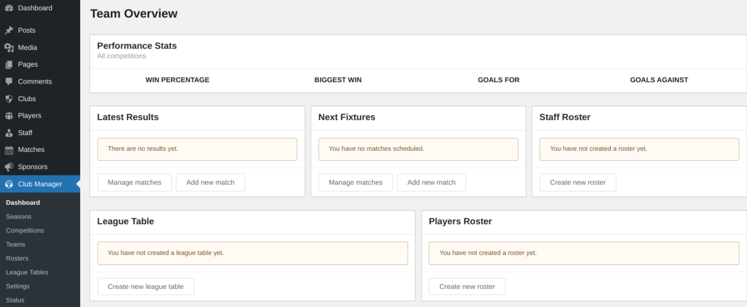 The WP Club Manager plugin settings.