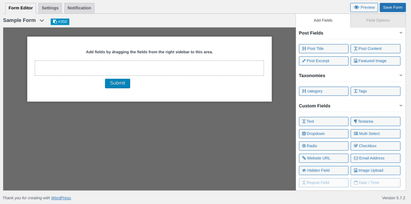 The form interface for the WP Users Frontend plugin.