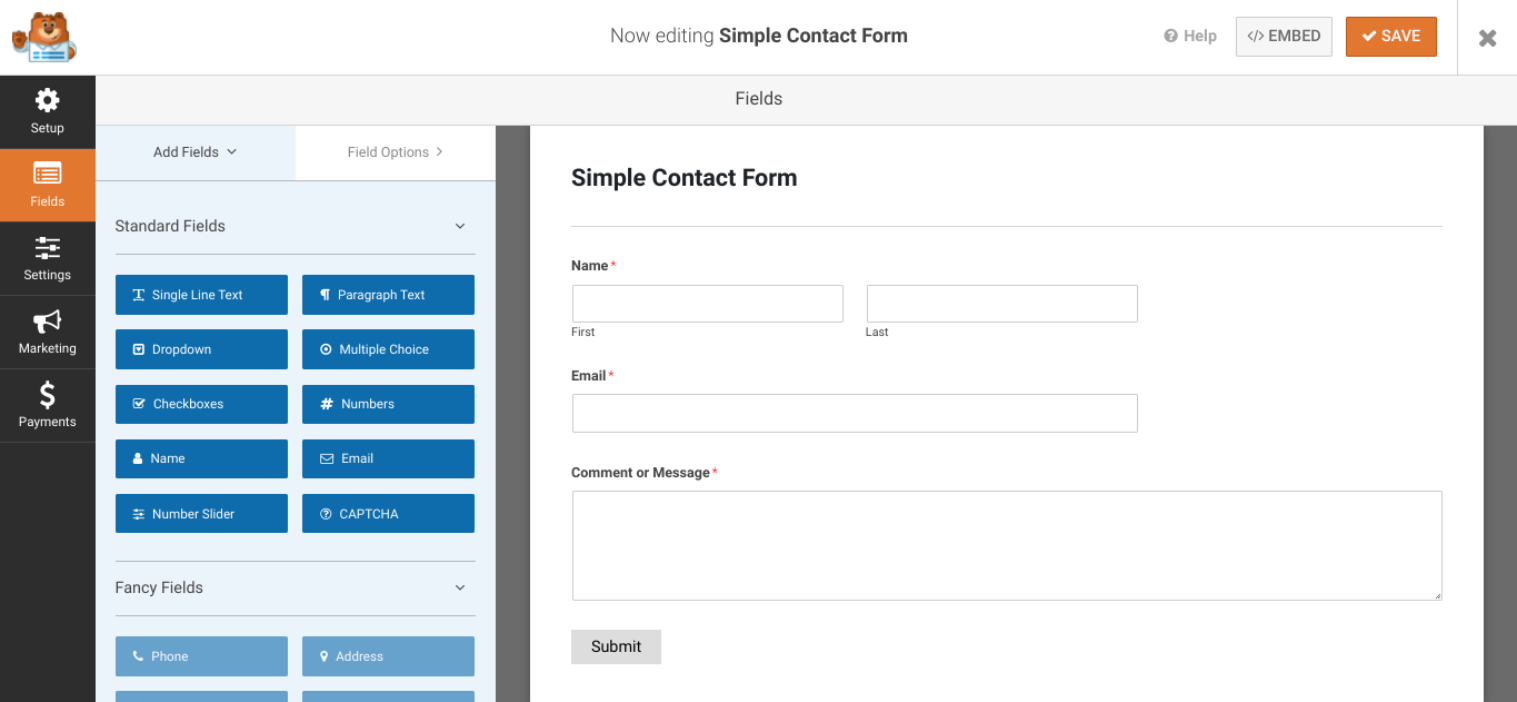 The WPForms plugin interface.