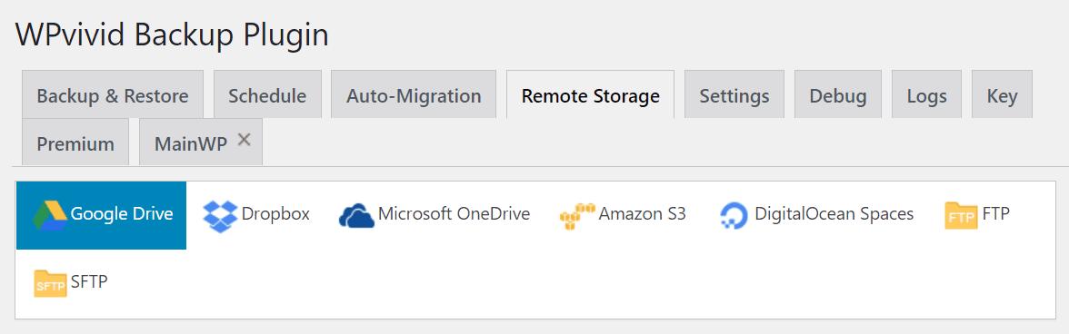WPvivid's cloud storage settings