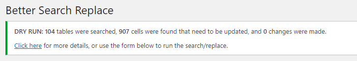 search and replace results report
