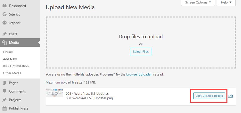 wordpress 5.8 image copy link
