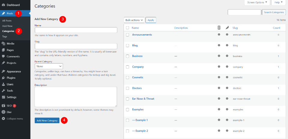 Creating WordPress Categories in the Category Editor