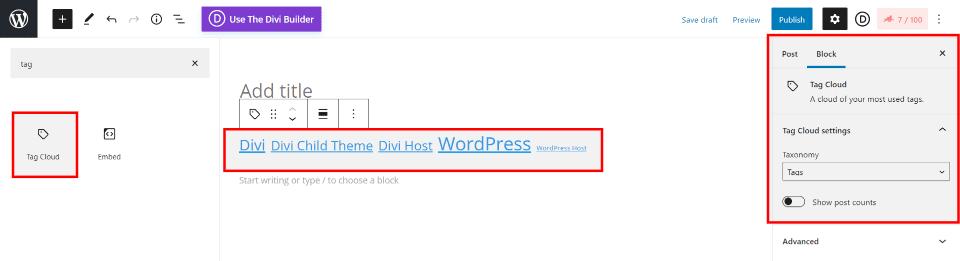 Display WordPress Tags with a Block