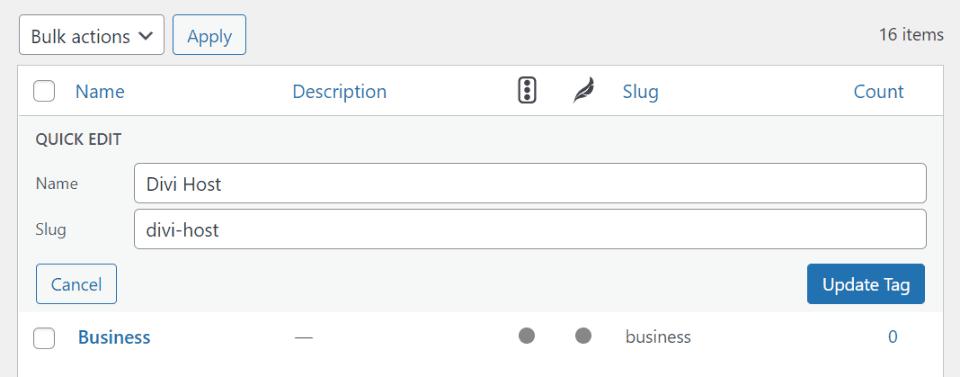Editing WordPress Tags in the Tag Editor