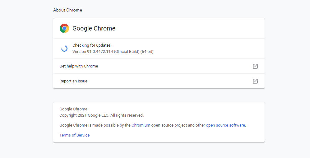 The About Chrome screen.