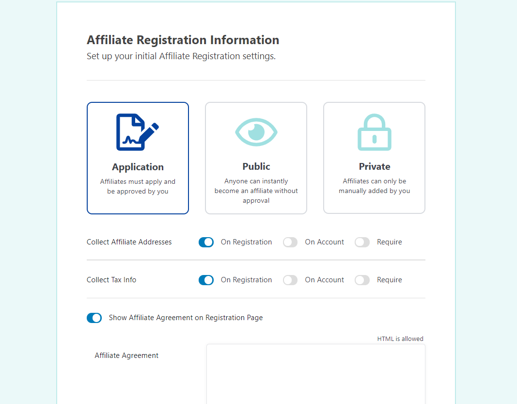 Configuring your affiliate application system