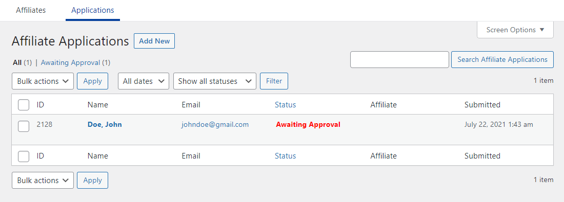 Monitoring affiliate applications
