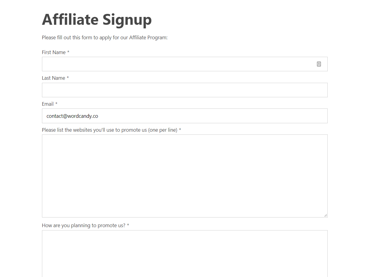 The affiliate appplication process