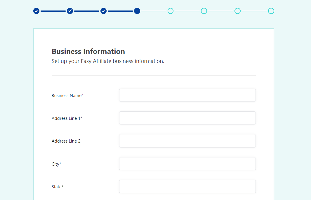 Entering your business information
