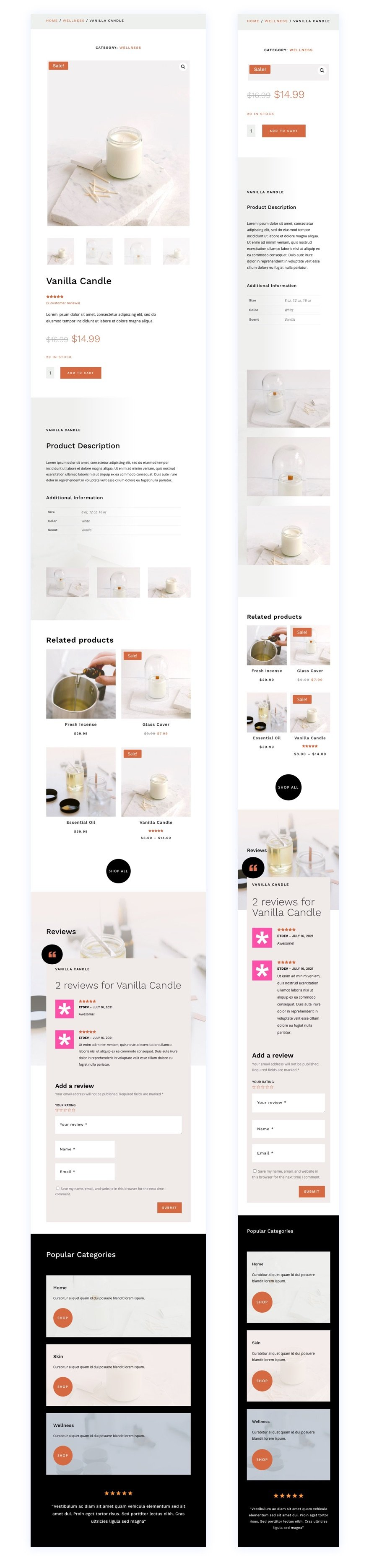 divi candle making product page template
