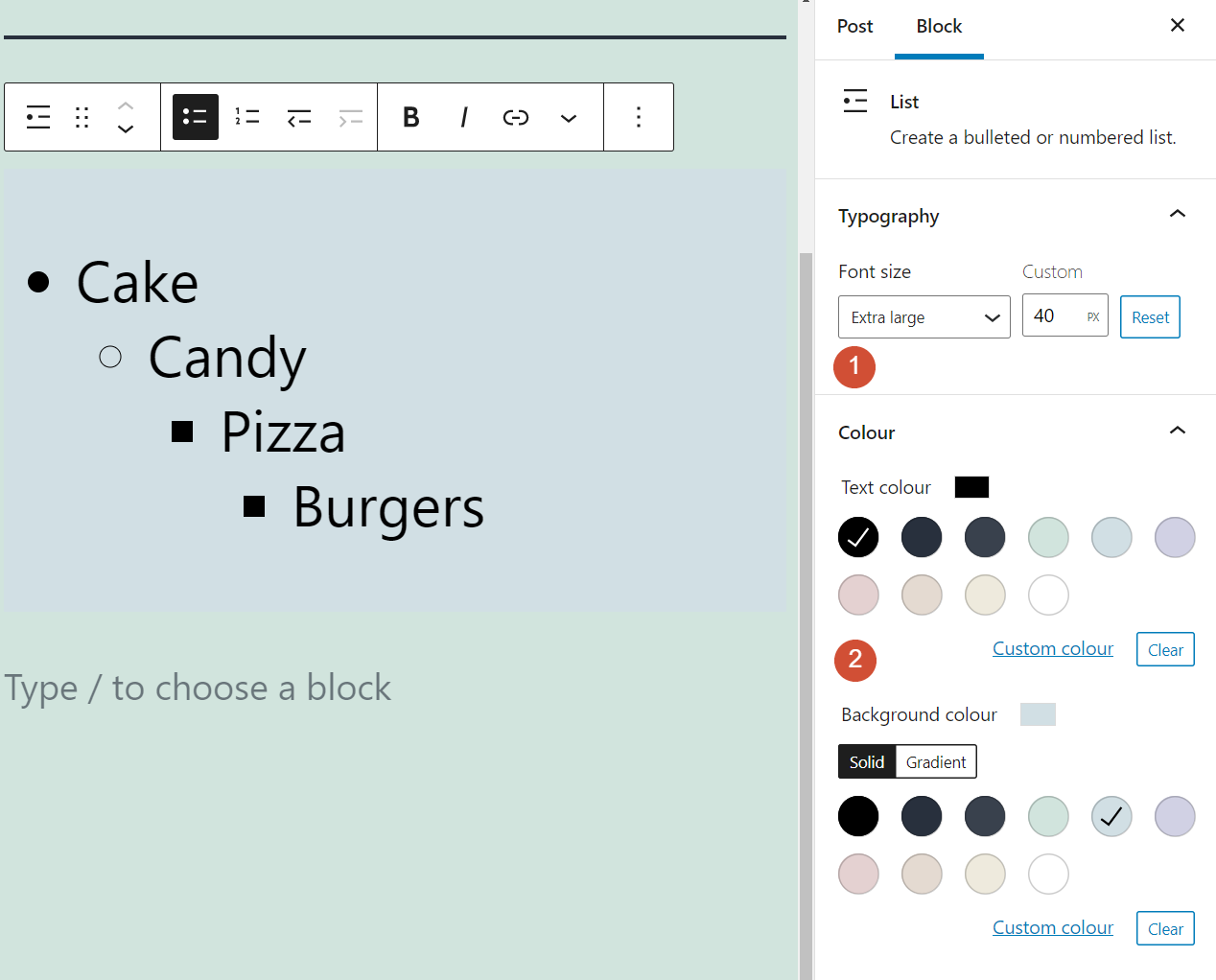 Changing the font size and colors for your List block