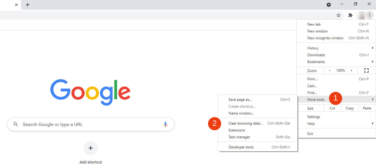 The option to clear browsing data in Google Chrome.
