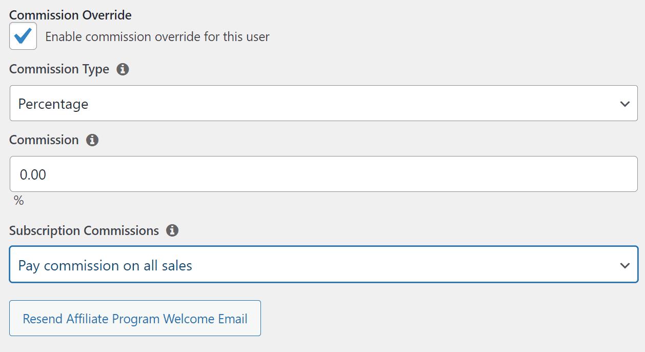 Configuring custom affiliate commissions