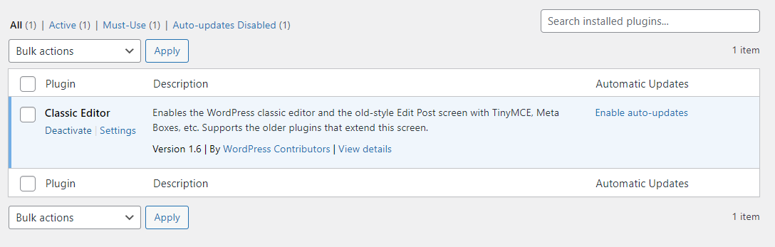 Deactivating a plugin in WordPress