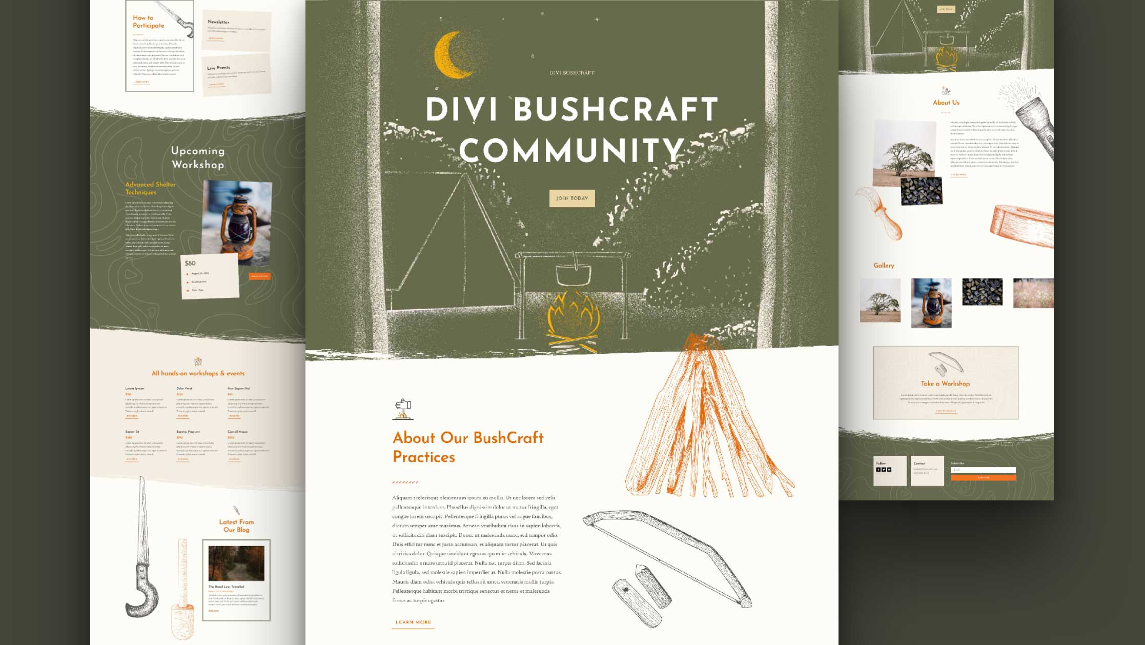 Get a FREE Bushcraft Layout Pack for Divi