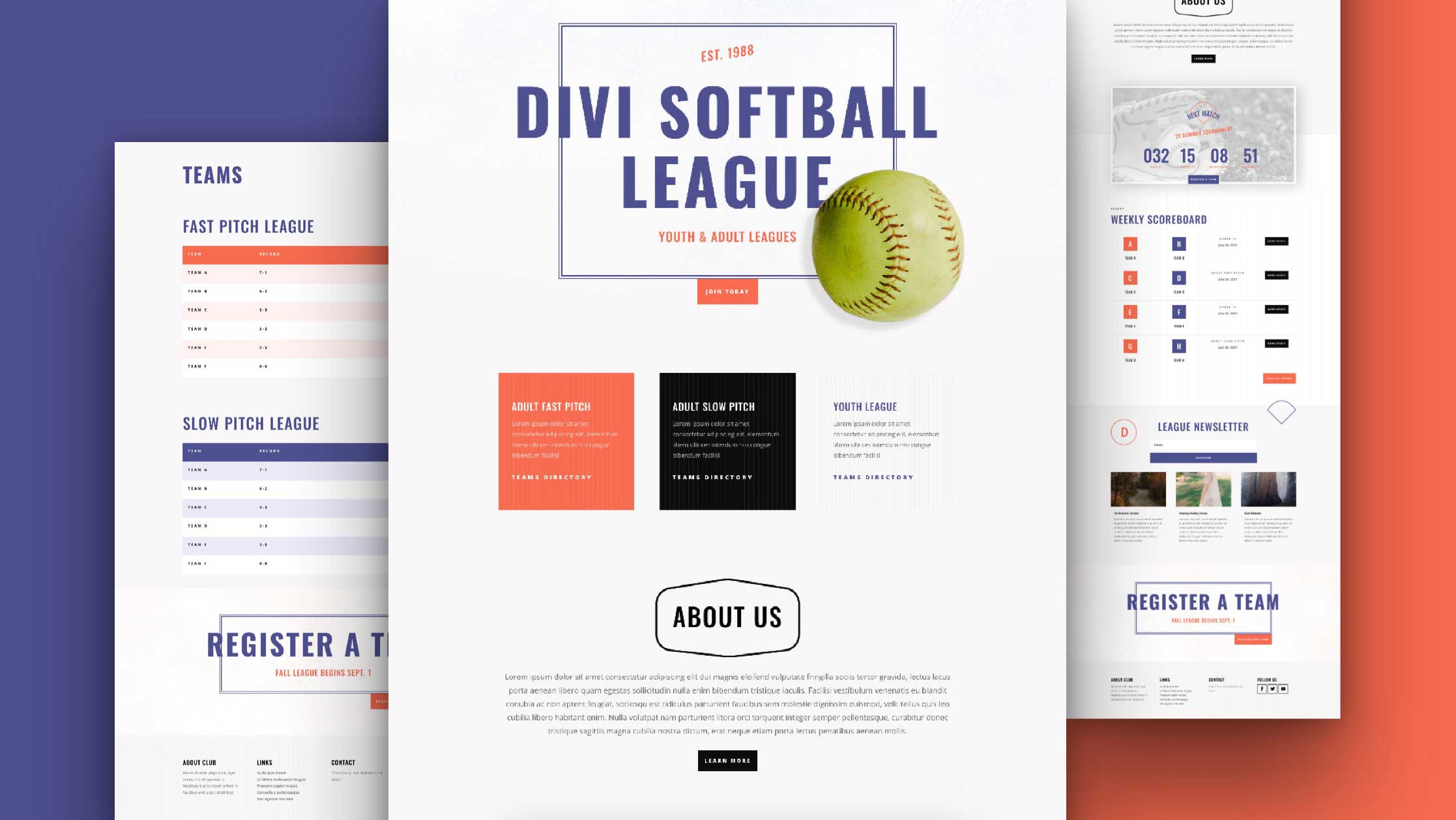 Get a FREE Softball League Layout Pack for Divi