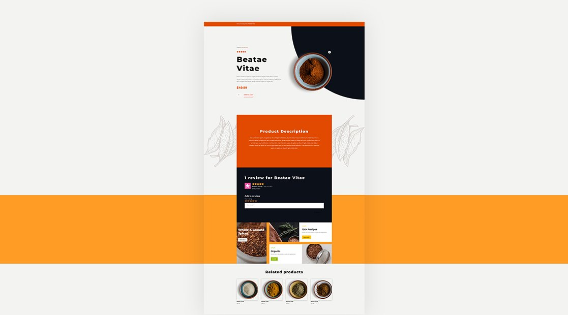 Download a FREE Product Page Template for Divi's Spice Shop Layout Pack