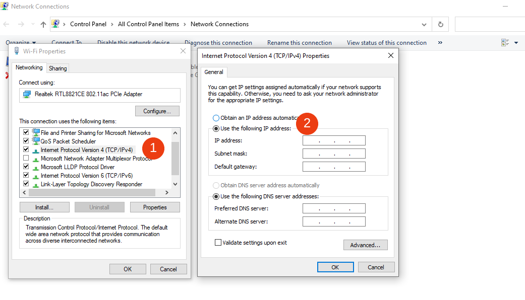 The screen to add new DNS addresses in Windows.