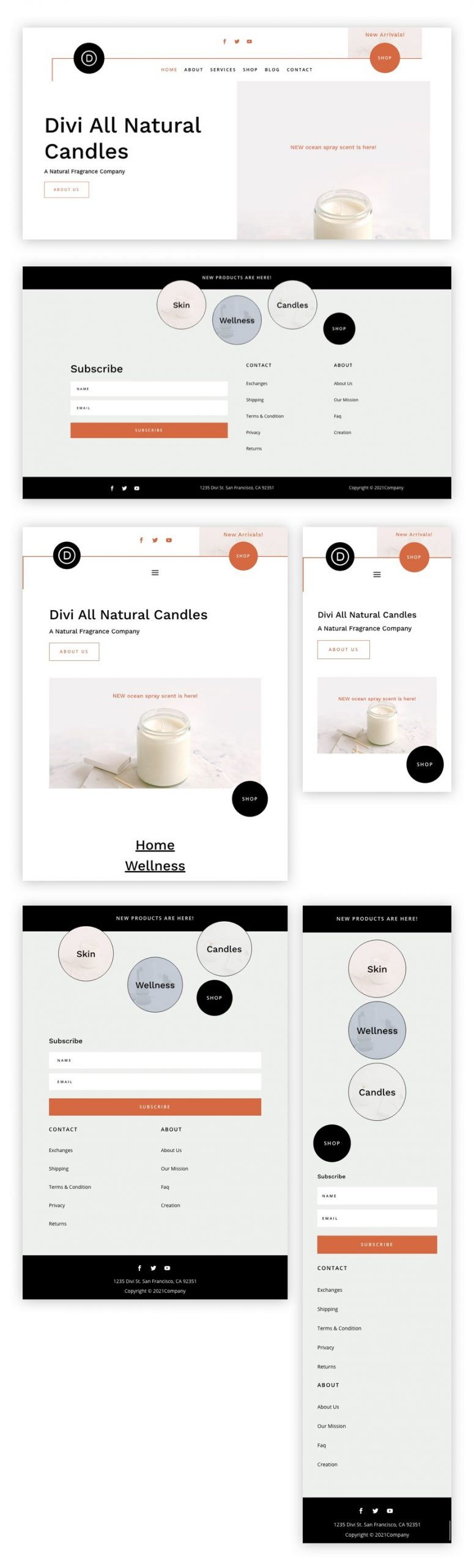 divi candle making header footer template
