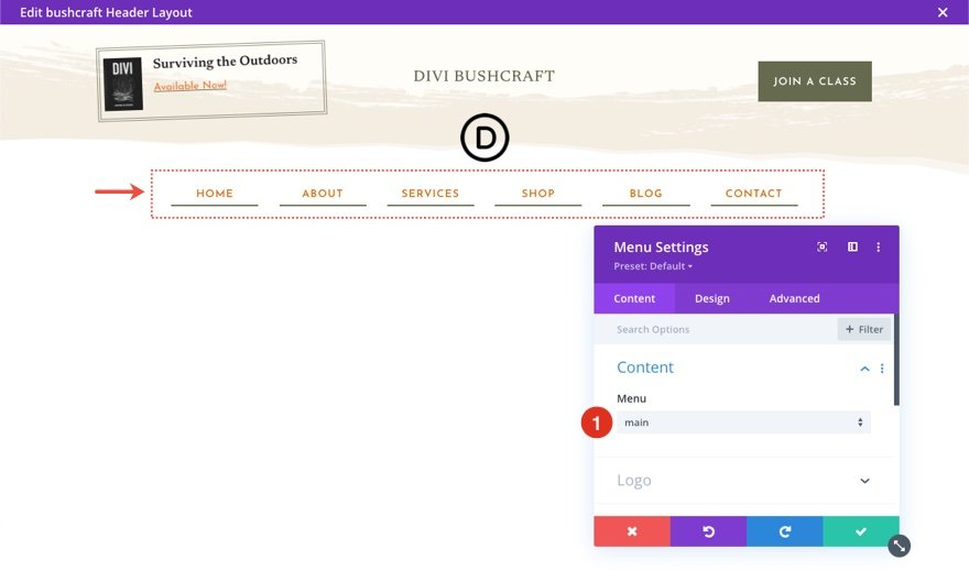 header footer template for Divi's Bushcraft Layout Pack