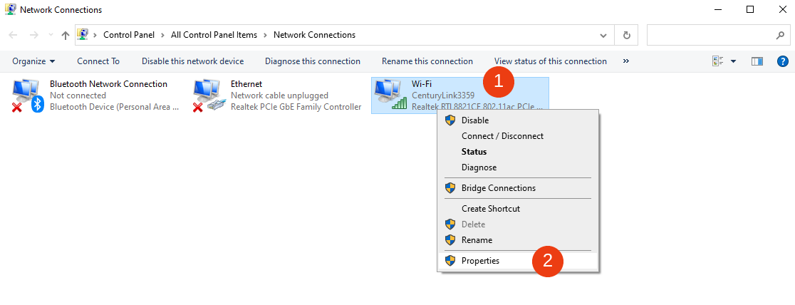 The Network Connections window in Windows.