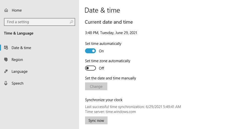 Configuring Windows to set the time automatically