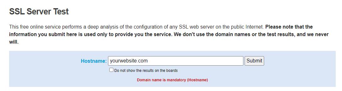 Using the SSL Server Test service