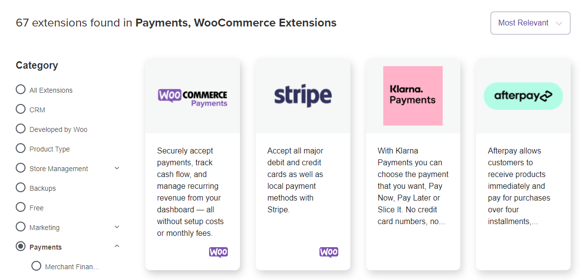 WooCommerce payment extensions