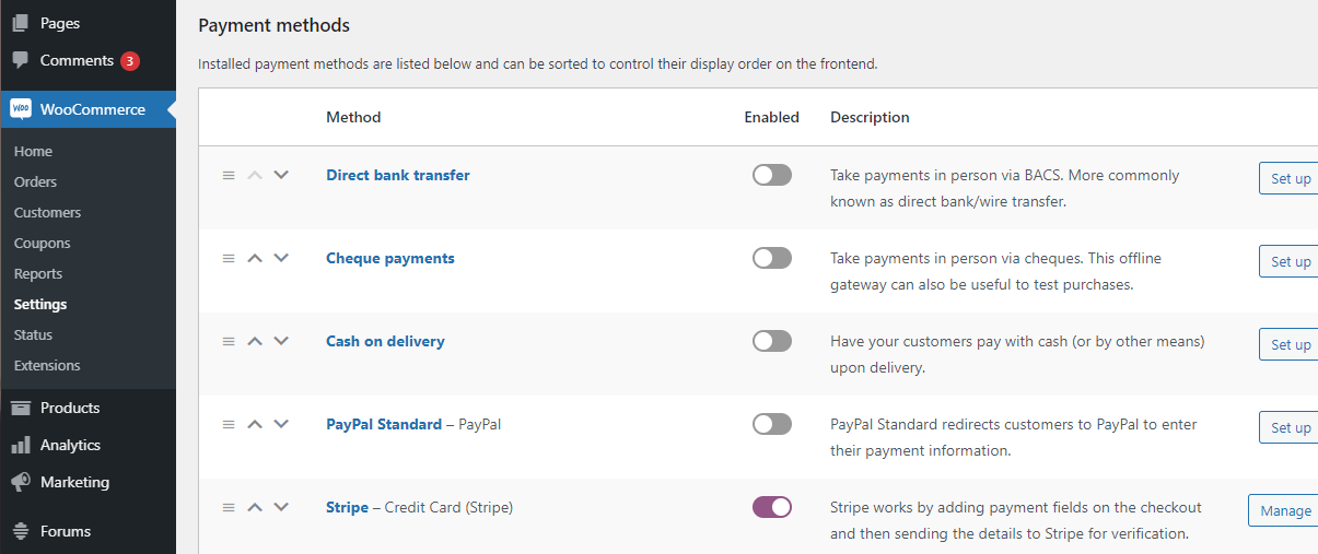 Setting up WooCommerce payment methods