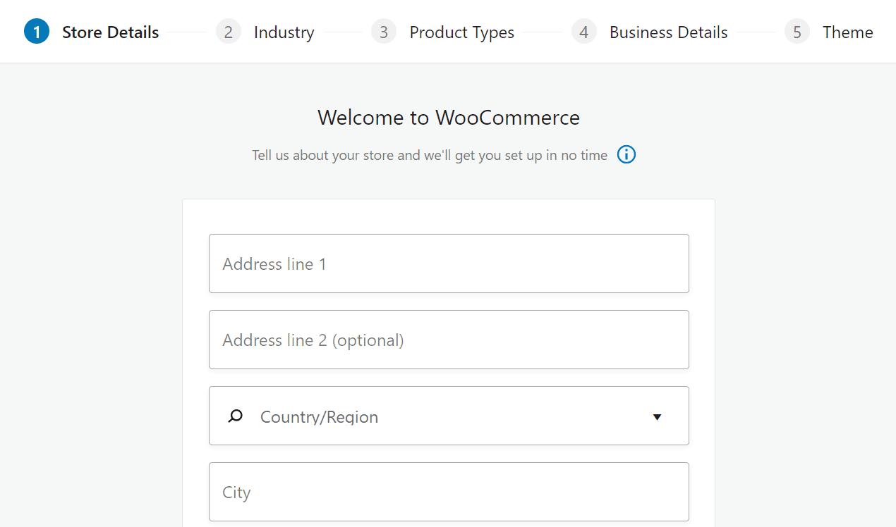 Setting up a store using WooCommerce