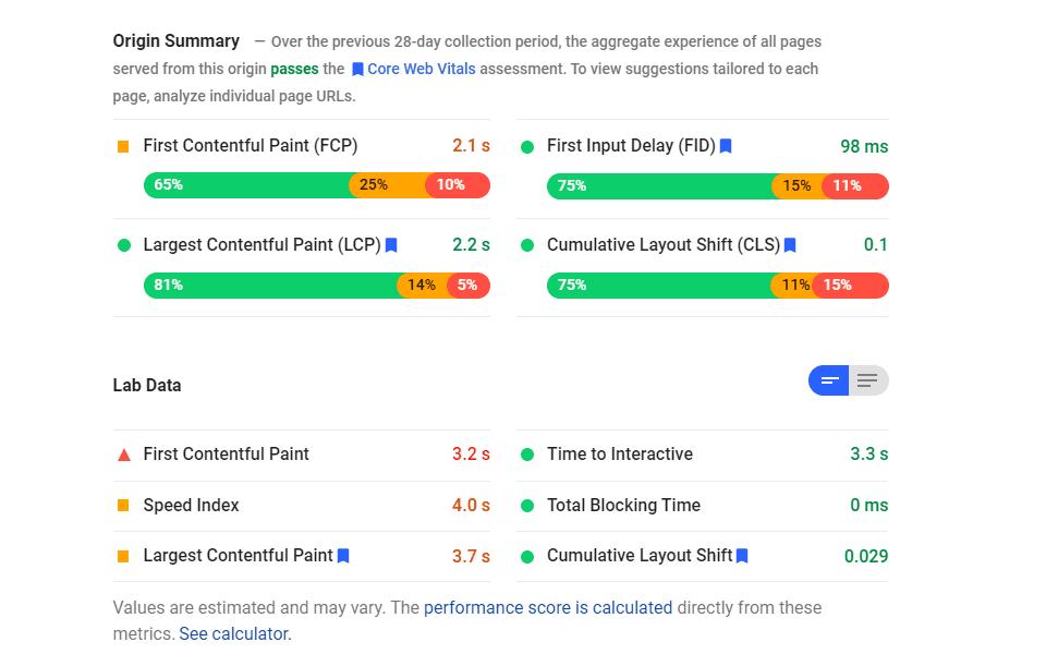 speed index pagespeed insights