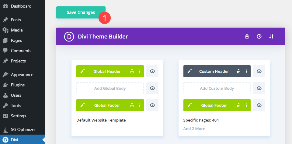 save the theme builder changes