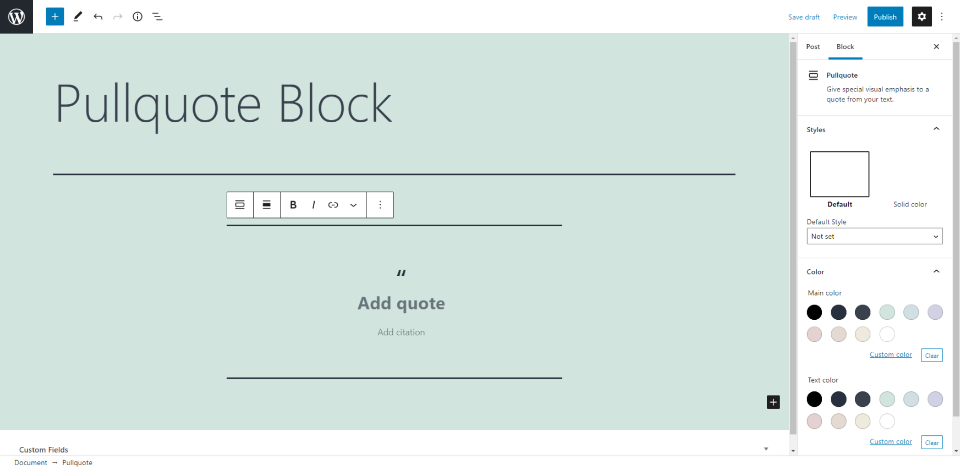 How to Add the Pullquote Block to your Post or Page