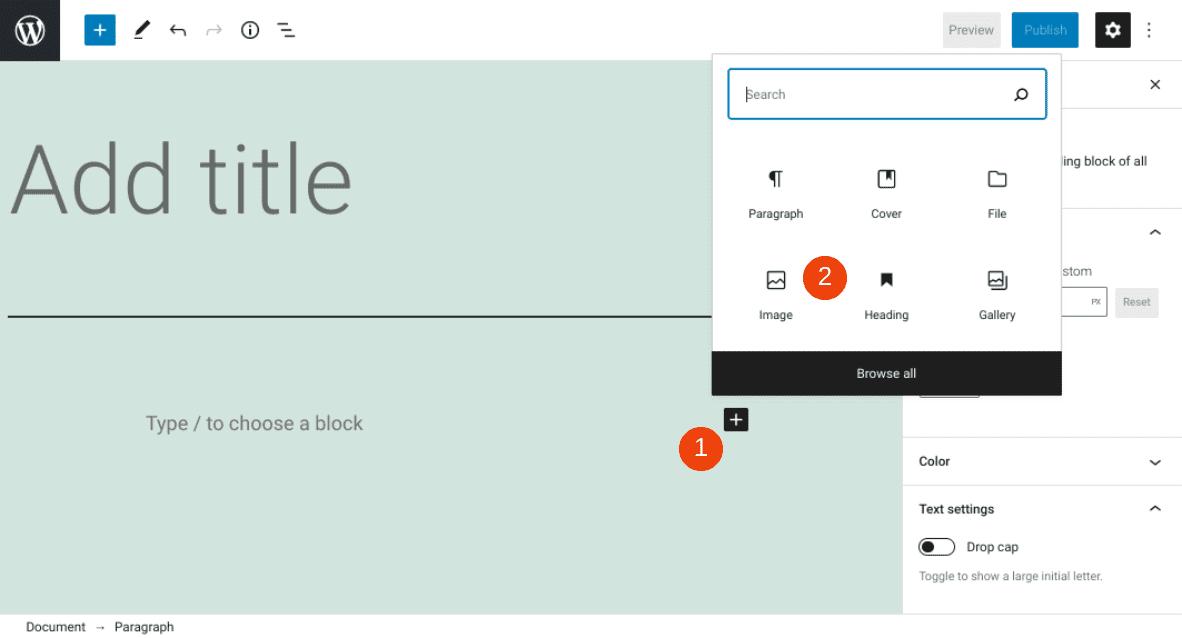Adding an image block in WordPress.