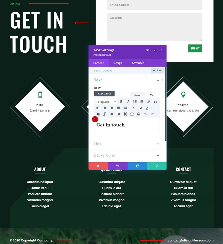 golf lessons header footer