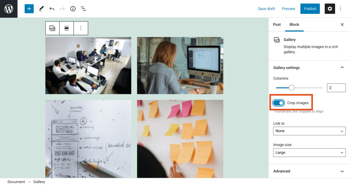 The option to crop images in WordPress via Gallery block.
