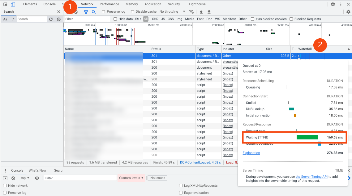 The TTFB listed in Chrome DevTools.