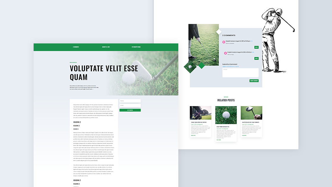 Download a FREE Blog Post Template for Divi's Golf Lessons Layout Pack
